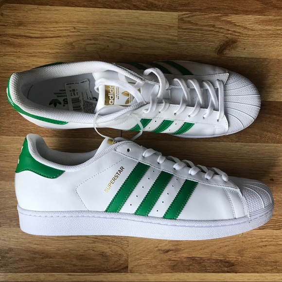 adidas Superstar Shoes White & Green Mens Size 11 SNEAKERS PGD 789006 Gold